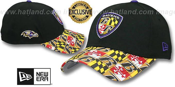 Ravens 'MARYLAND FLAG FLEX' Black-Flag Hat by New Era : pictured without stickers that these products are shipped with