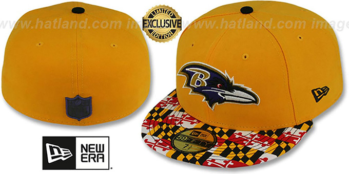 Ravens 'MARYLAND-FLAG' Gold Fitted Hat by New Era : pictured without stickers that these products are shipped with