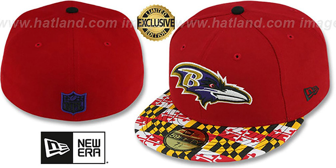 Ravens 'MARYLAND-FLAG' Red Fitted Hat by New Era : pictured without stickers that these products are shipped with