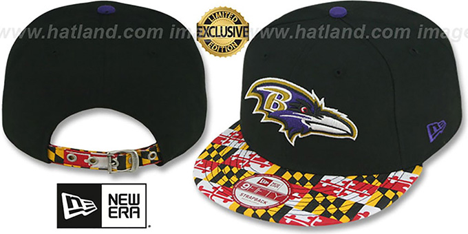 Ravens 'MARYLAND-FLAG STRAPBACK' Black Hat by New Era : pictured without stickers that these products are shipped with