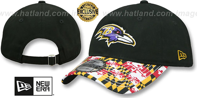 Ravens maryland flag strapback lc black hat by new era