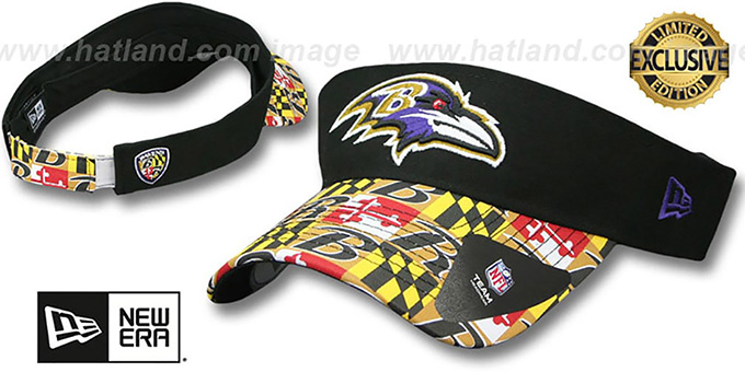 Ravens 'MARYLAND FLAG VISOR' Black-Flag by New Era : pictured without stickers that these products are shipped with