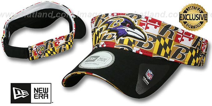 Ravens 'MARYLAND FLAG VISOR' Flag-Black by New Era : pictured without stickers that these products are shipped with