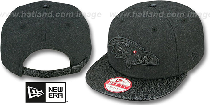 Ravens 'MELTON STINGER STRAPBACK' Hat by New Era : pictured without stickers that these products are shipped with