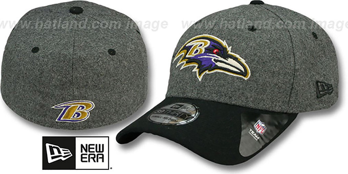 Ravens 'MELTOP FLEX' Grey-Black Hat by New Era : pictured without stickers that these products are shipped with
