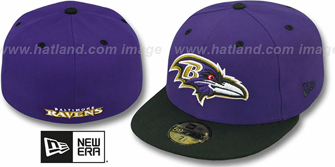Ravens 'NFL 2T-TEAM-BASIC' Purple-Black Fitted Hat by New Era : pictured without stickers that these products are shipped with