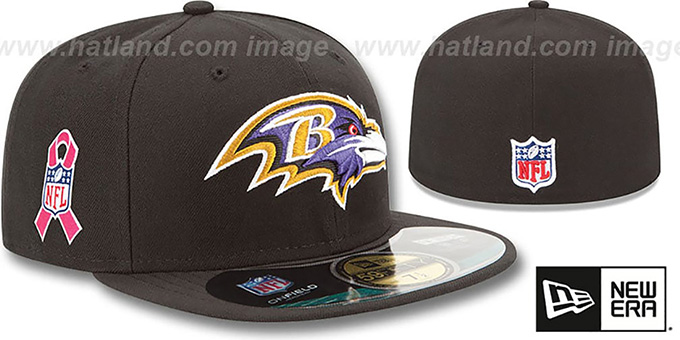 Ravens 'NFL BCA' Black Fitted Hat by New Era : pictured without stickers that these products are shipped with