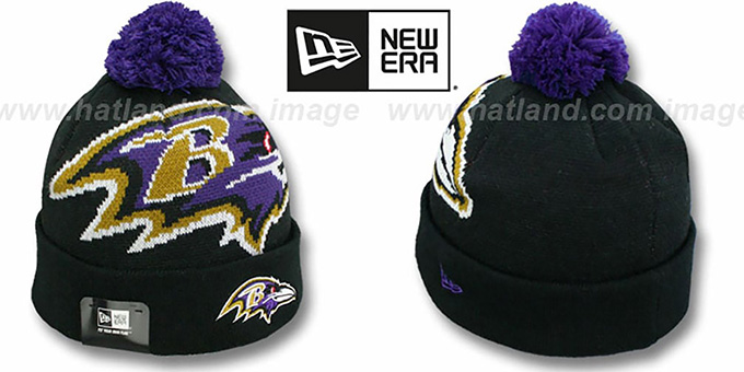 Ravens 'NFL-BIGGIE' Black Knit Beanie Hat by New Era : pictured without stickers that these products are shipped with