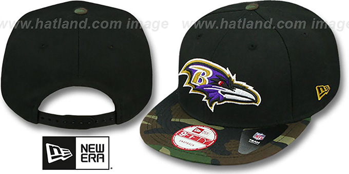 Ravens 'NFL CAMO-BRIM SNAPBACK' Adjustable Hat by New Era : pictured without stickers that these products are shipped with