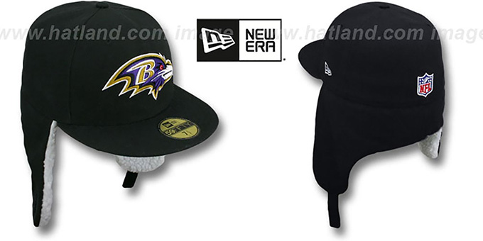 Ravens 'NFL-DOGEAR' Black Fitted Hat by New Era : pictured without stickers that these products are shipped with