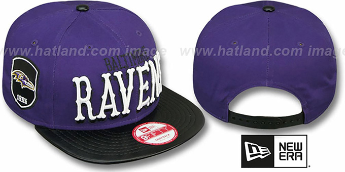 Ravens 'NFL ENGLISH-WORD SNAPBACK' Purple-Black Hat by New Era : pictured without stickers that these products are shipped with