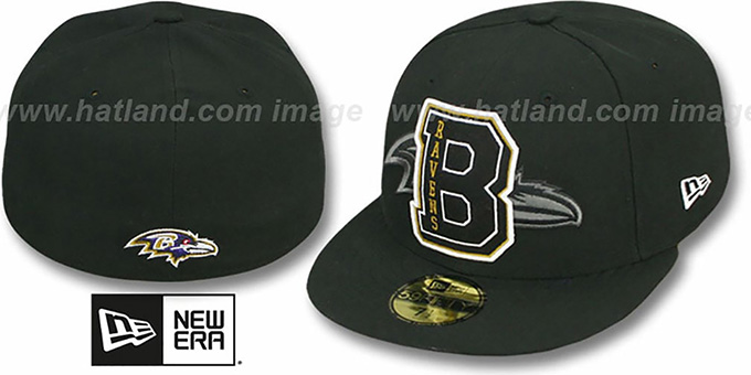 Ravens 'NFL FELTN' Black Fitted Hat by New Era : pictured without stickers that these products are shipped with