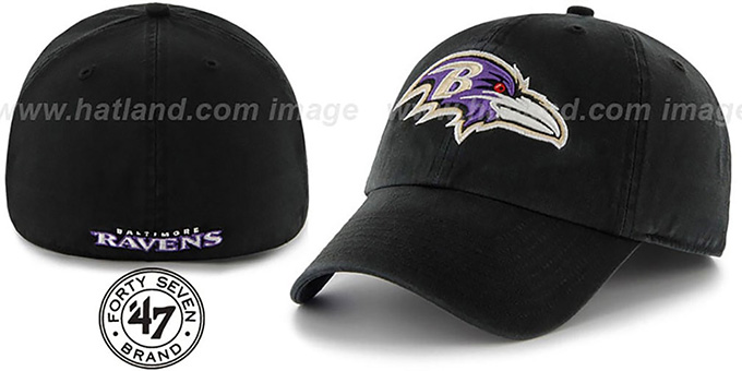 Ravens 'NFL FRANCHISE' Black Hat by 47 Brand : pictured without stickers that these products are shipped with