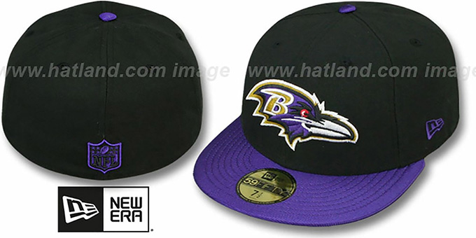 Ravens 'NFL JERSEY-BASIC' Black-Purple Fitted Hat by New Era : pictured without stickers that these products are shipped with