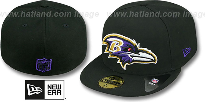 Ravens NFL 'MIGHTY-XL' Black Fitted Hat by New Era : pictured without stickers that these products are shipped with