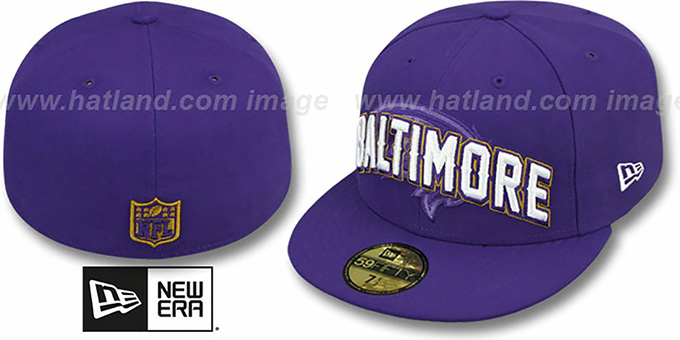 Ravens 'NFL ONFIELD DRAFT' Purple Fitted Hat by New Era : pictured without stickers that these products are shipped with