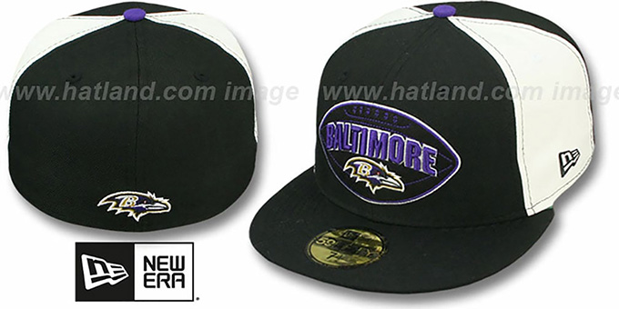 Ravens 'NFL RETRO PATCH' Black-White Fitted Hat by New Era : pictured without stickers that these products are shipped with
