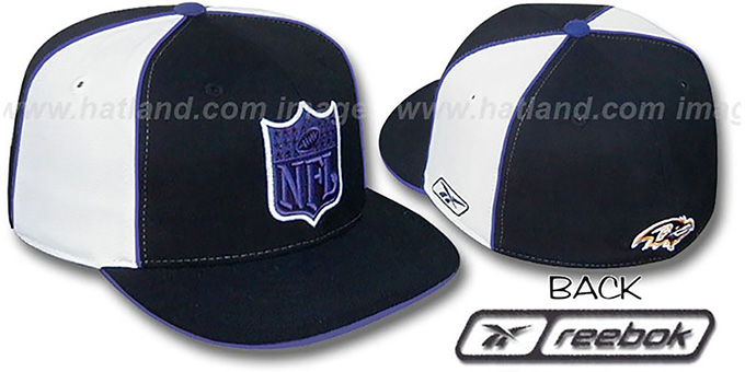 Ravens 'NFL SHIELD PINWHEEL' Black White Fitted Hat by Reebok : pictured without stickers that these products are shipped with
