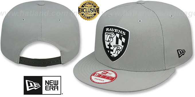 Ravens 'NFL SHIELD TEAM-BASIC SNAPBACK' Grey-Black Hat by New Era : pictured without stickers that these products are shipped with