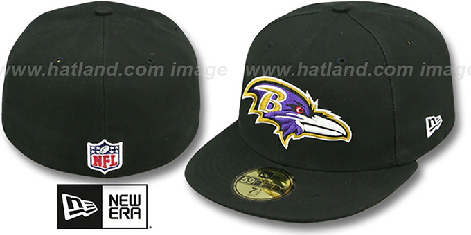 Ravens 'NFL STADIUM' Black Fitted Hat by New Era : pictured without stickers that these products are shipped with