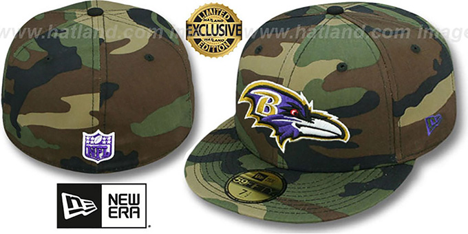 Ravens 'NFL TEAM-BASIC' Army Camo Fitted Hat by New Era : pictured without stickers that these products are shipped with