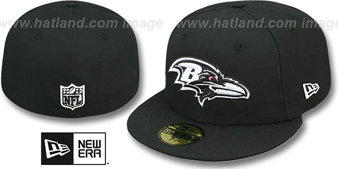 Ravens 'NFL TEAM-BASIC' Black-White Fitted Hat by New Era : pictured without stickers that these products are shipped with