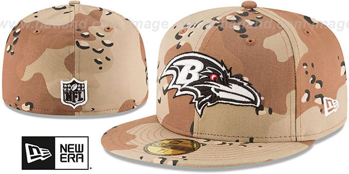 Ravens 'NFL TEAM-BASIC' Desert Storm Camo Fitted Hat by New Era : pictured without stickers that these products are shipped with