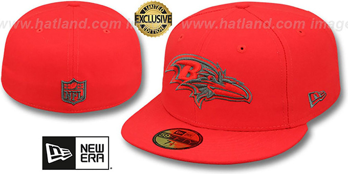 Ravens 'NFL TEAM-BASIC' Fire Red-Charcoal Fitted Hat by New Era : pictured without stickers that these products are shipped with