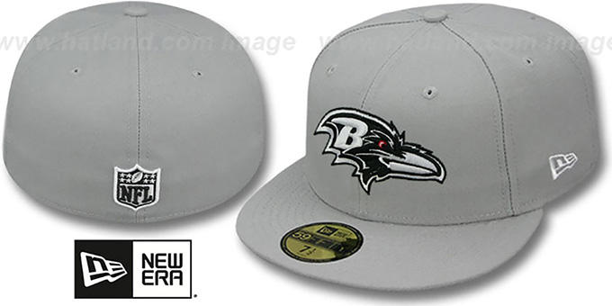Ravens 'NFL TEAM-BASIC' Grey-Black-White Fitted Hat by New Era : pictured without stickers that these products are shipped with