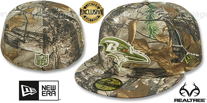 Ravens 'NFL TEAM-BASIC' Realtree Camo Fitted Hat by New Era : pictured without stickers that these products are shipped with