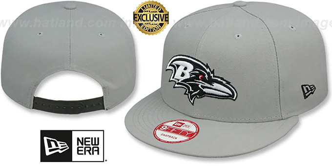 Ravens 'NFL TEAM-BASIC SNAPBACK' Grey-Black Hat by New Era : pictured without stickers that these products are shipped with