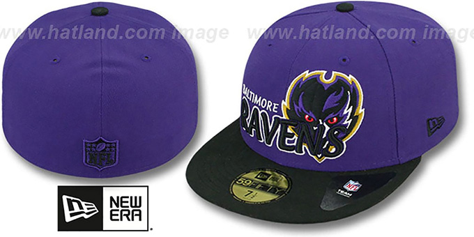Ravens 'NFL-TIGHT' Purple-Black Fitted Hat by New Era : pictured without stickers that these products are shipped with