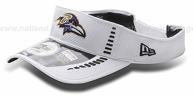 Ravens 'NFL TRAINING' White Visor by New Era : pictured without stickers that these products are shipped with