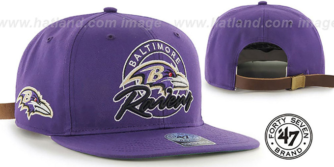 Ravens 'NFL VIRAPIN STRAPBACK' Purple Hat by Twins 47 Brand : pictured without stickers that these products are shipped with