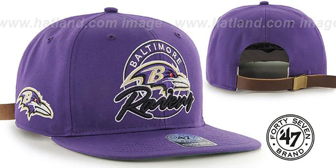 e394b20692fd3e Ravens 'NFL VIRAPIN STRAPBACK' Purple Hat by Twins 47 Brand