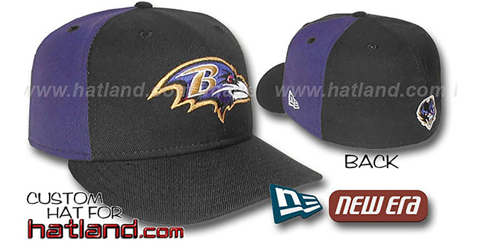Ravens 'PINWHEEL-2' Black-Purple Fitted Hat : pictured without stickers that these products are shipped with