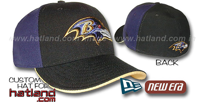 Ravens 'PINWHEEL' Black-Purple Fitted Hat by New Era : pictured without stickers that these products are shipped with