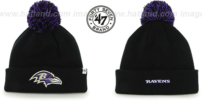 Ravens 'POMPOM CUFF' Black Knit Beanie Hat by Twins 47 Brand : pictured without stickers that these products are shipped with