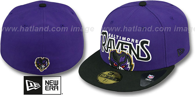 Ravens 'PROFILIN' Purple-Black Fitted Hat by New Era : pictured without stickers that these products are shipped with