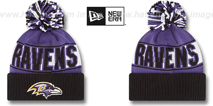 Ravens 'REP-UR-TEAM' Knit Beanie Hat by New Era : pictured without stickers that these products are shipped with