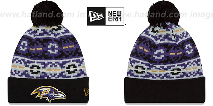 Ravens 'RETRO CHILL' Knit Beanie Hat by New Era : pictured without stickers that these products are shipped with