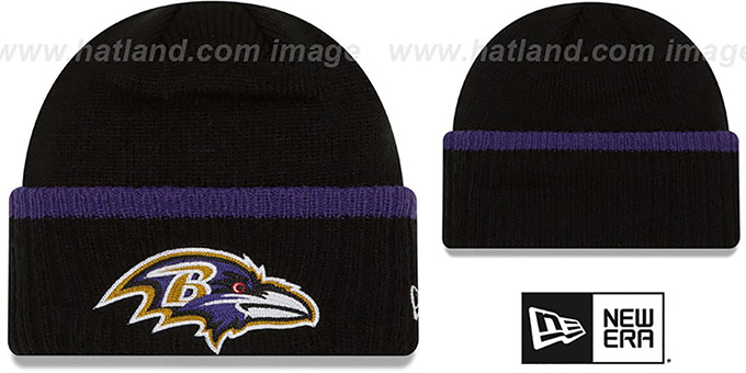 05d4cf1d7c77b Baltimore Ravens RIBBED-UP Black Knit Beanie Hat by New Era