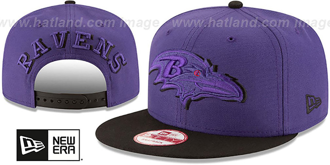 Ravens 'SHADOW SLICE SNAPBACK' Purple-Black Hat by New Era : pictured without stickers that these products are shipped with