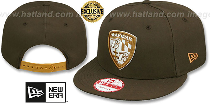 Ravens 'SHIELD TEAM-BASIC SNAPBACK' Brown-Wheat Hat by New Era : pictured without stickers that these products are shipped with