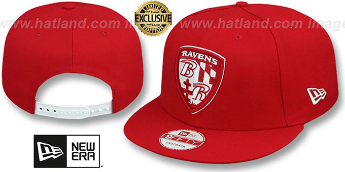 Ravens 'SHIELD TEAM-BASIC SNAPBACK' Red-White Hat by New Era : pictured without stickers that these products are shipped with