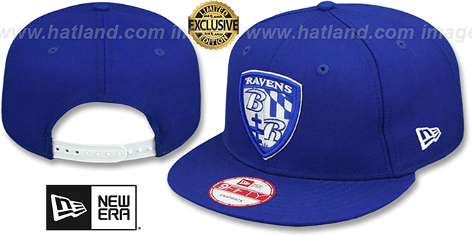 Ravens 'SHIELD TEAM-BASIC SNAPBACK' Royal-White Hat by New Era : pictured without stickers that these products are shipped with