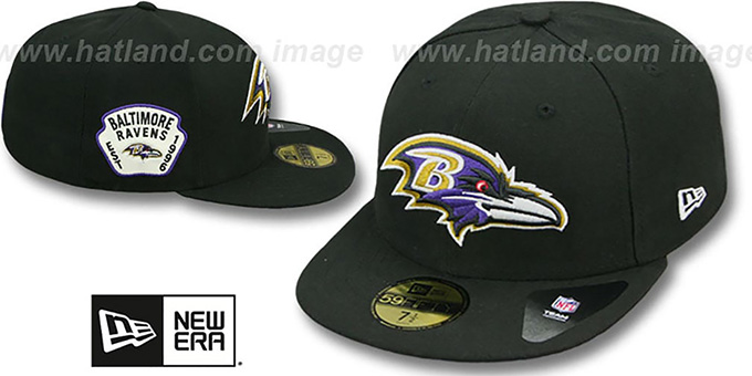 Ravens 'SIDE TEAM-PATCH' Black Fitted Hat by New Era : pictured without stickers that these products are shipped with