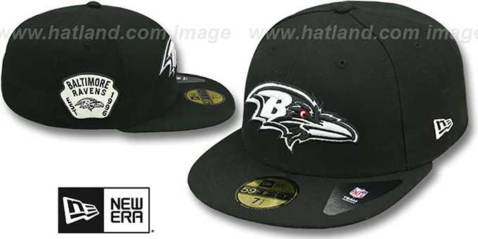 Ravens 'SIDE TEAM-PATCH' Black-White Fitted Hat by New Era : pictured without stickers that these products are shipped with