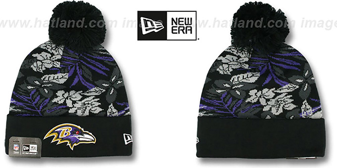 Ravens 'SNOW-TROPICS' Black Knit Beanie Hat by New Era : pictured without stickers that these products are shipped with