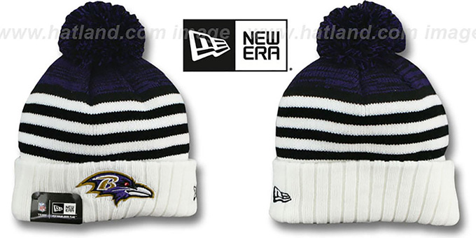 Ravens 'SNOWFALL STRIPE' Knit Beanie Hat by New Era : pictured without stickers that these products are shipped with